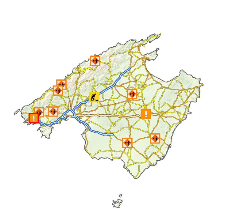 Roadworks map on Mallorca