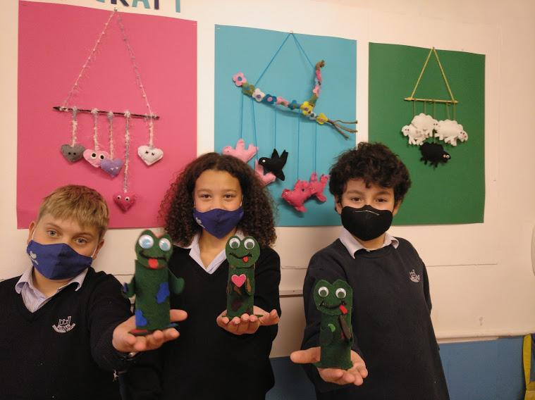 Year 7 Craft students used recycled toilet rolls as the base to their frog pencil holders
