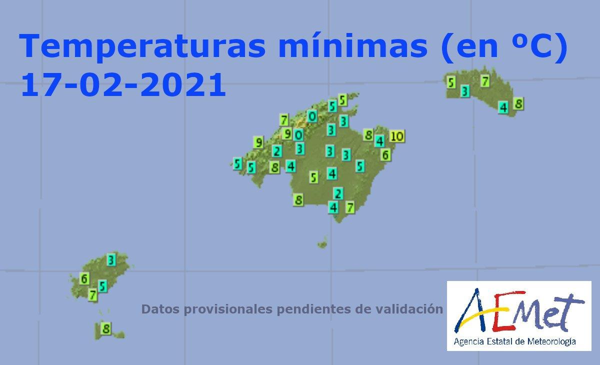 Minimum temperatures on the Balearic Islands for Wedneday 17 February
