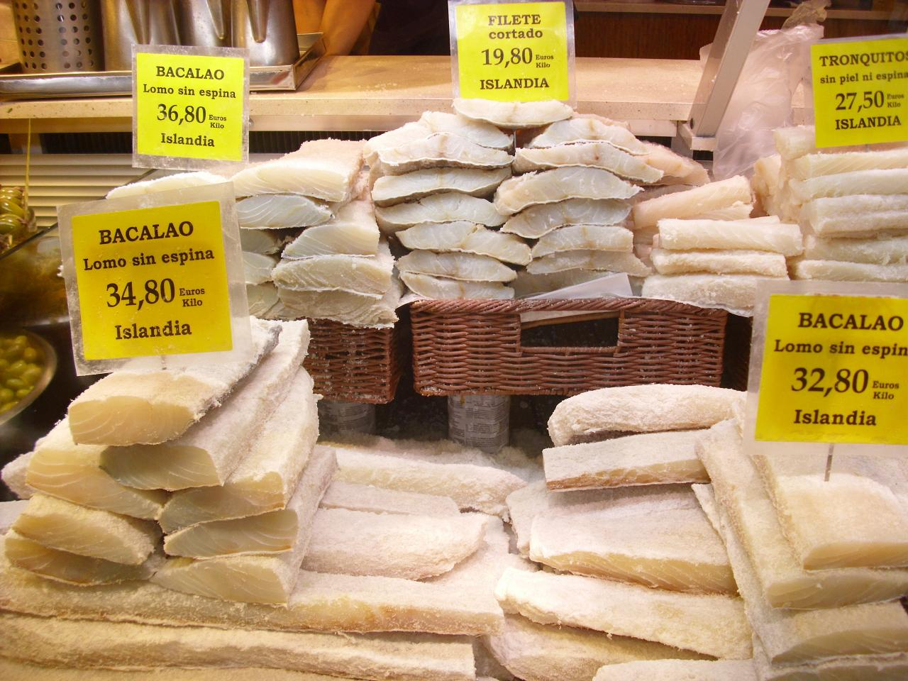 Some of the different sections of Icelandic bacalao on sale at the Aceitunera Balear stall at the Mercat d'Olivar