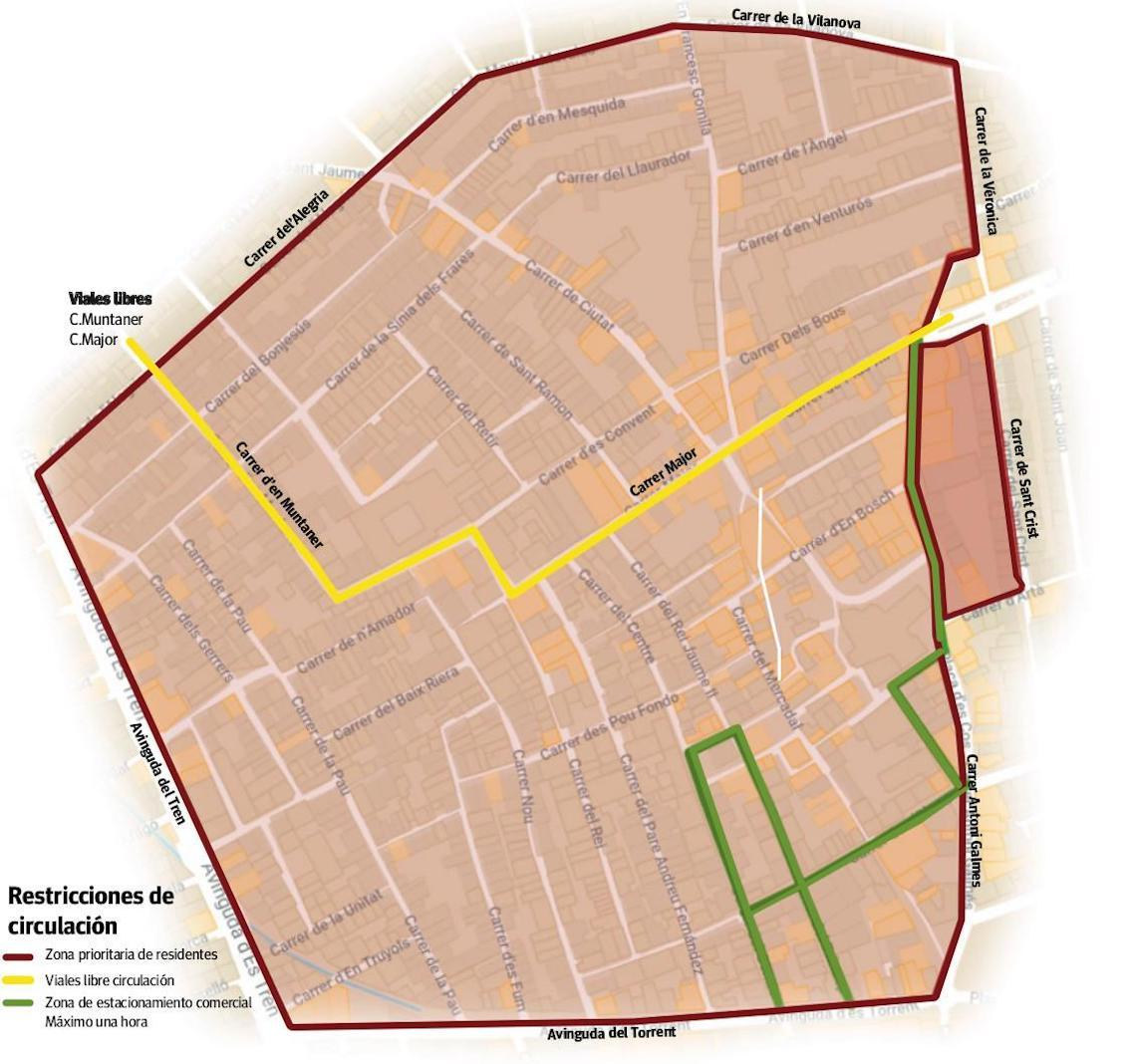 Map of new traffic restrictions in Manacor.