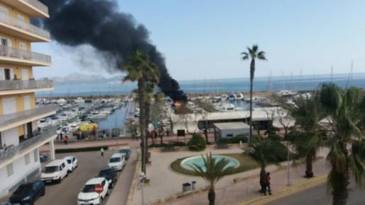 The smoke from the yacht can be seen for kilometres