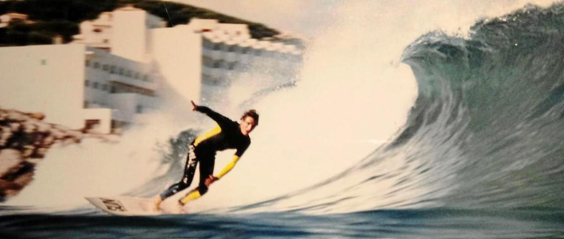 Juanjo Campos surfing in Cala Mesquida in the 1980's.