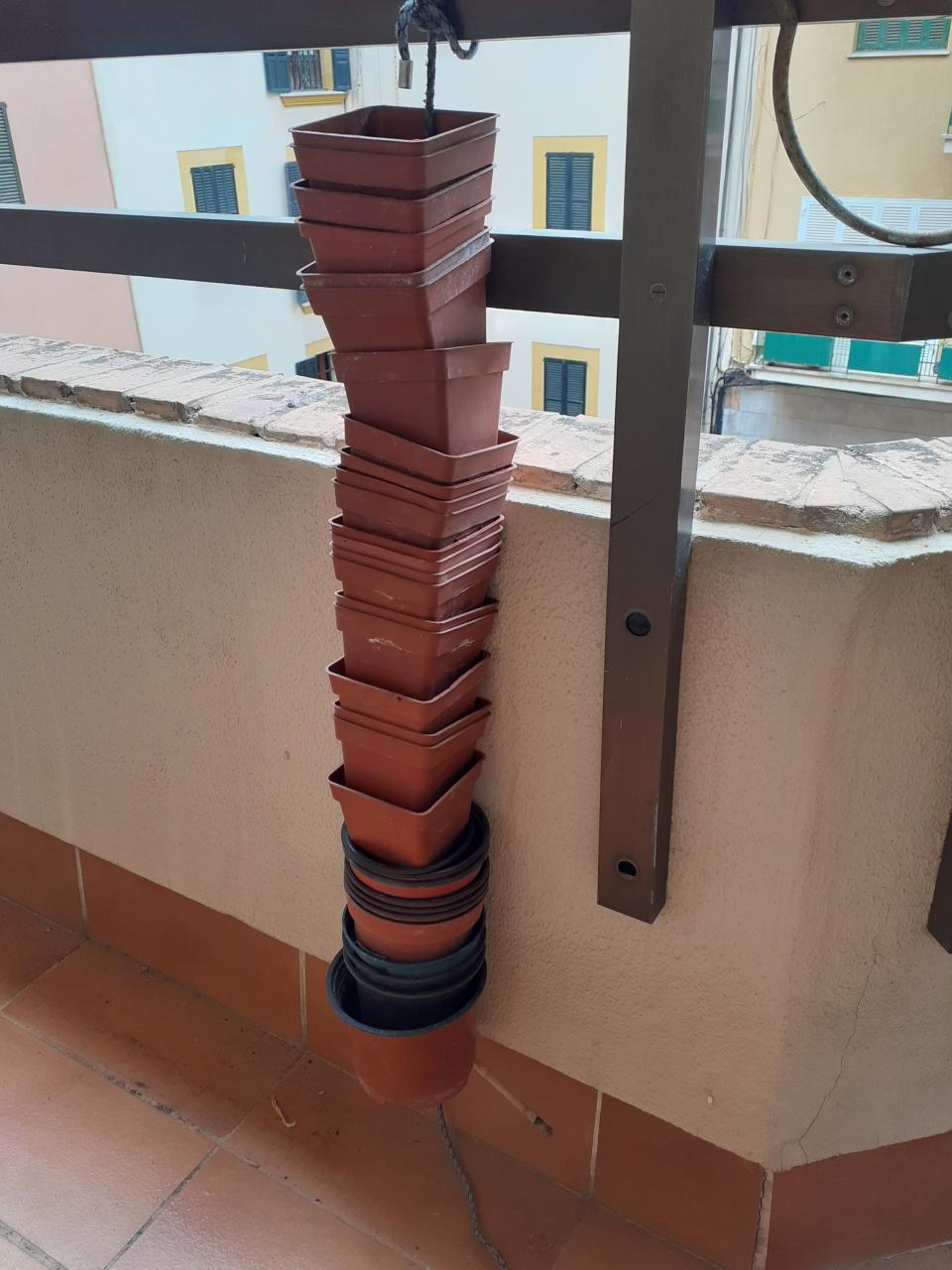 String of plant pots