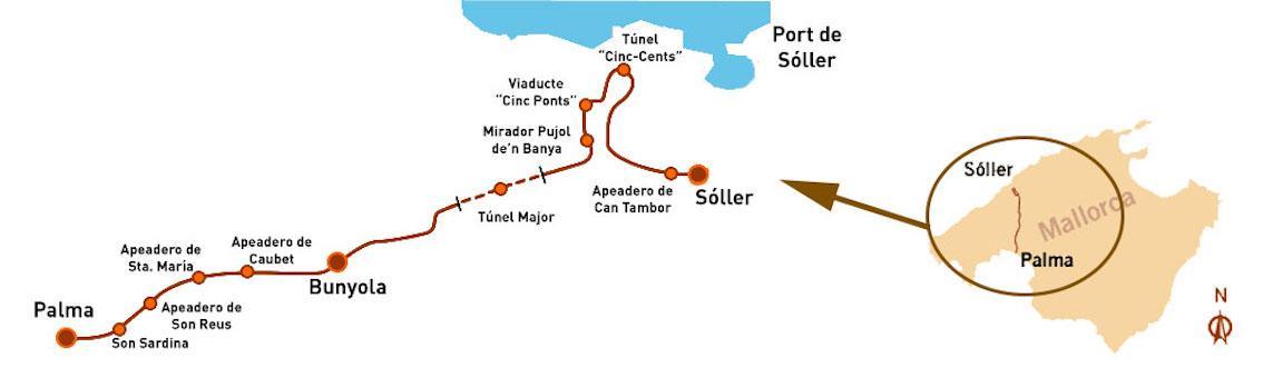 Vintage Soller Train Map, Mallorca.
