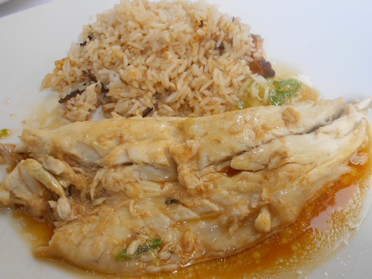 The sea bass fillet and the lotus-steamed rice
