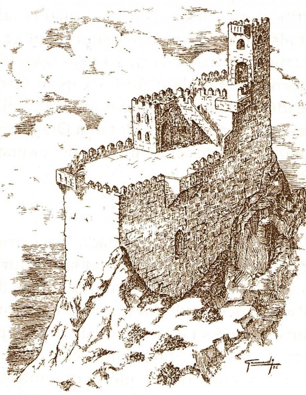 An engraving of what Cabrera castle looked like when the French were imprisoned.
