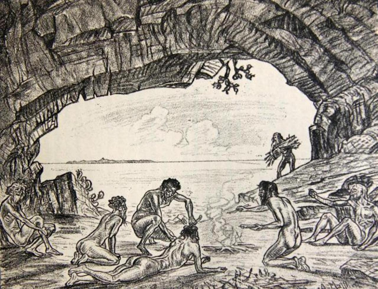 An engraving of the harsh conditions of prisoners on Cabrera.
