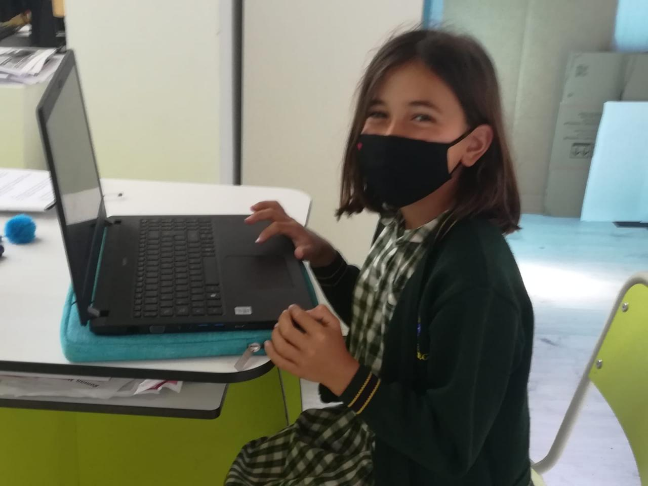 Year 4 researched about wolves using laptops