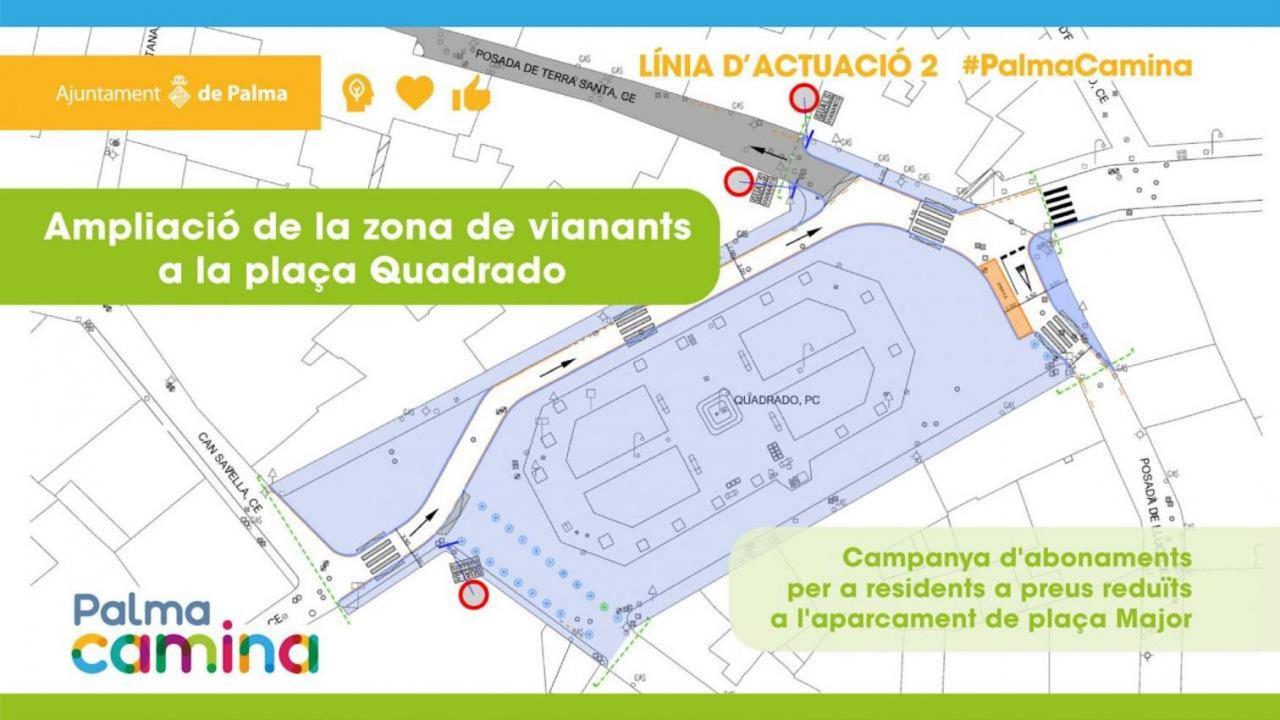 Pedestrian zone in Plaça Quadrado.