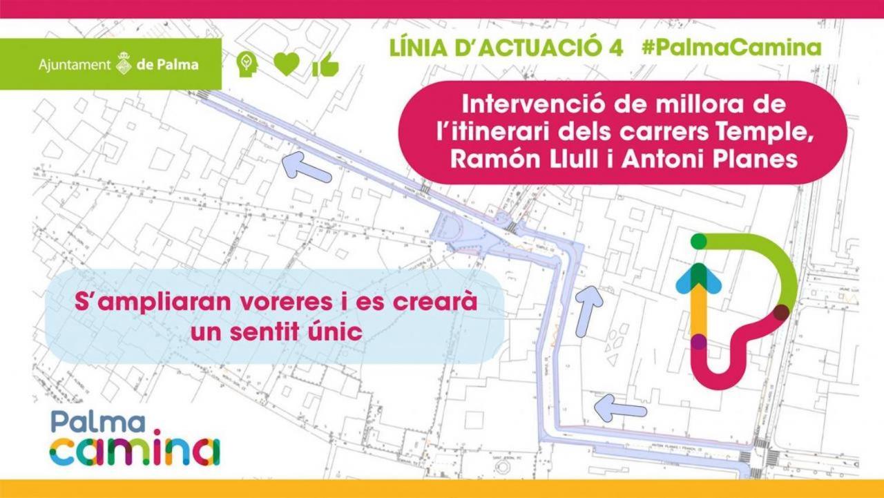 Carrer del Temple, Carrer de Ramon Llull and Carrer d'Antoni Planes i Franch.