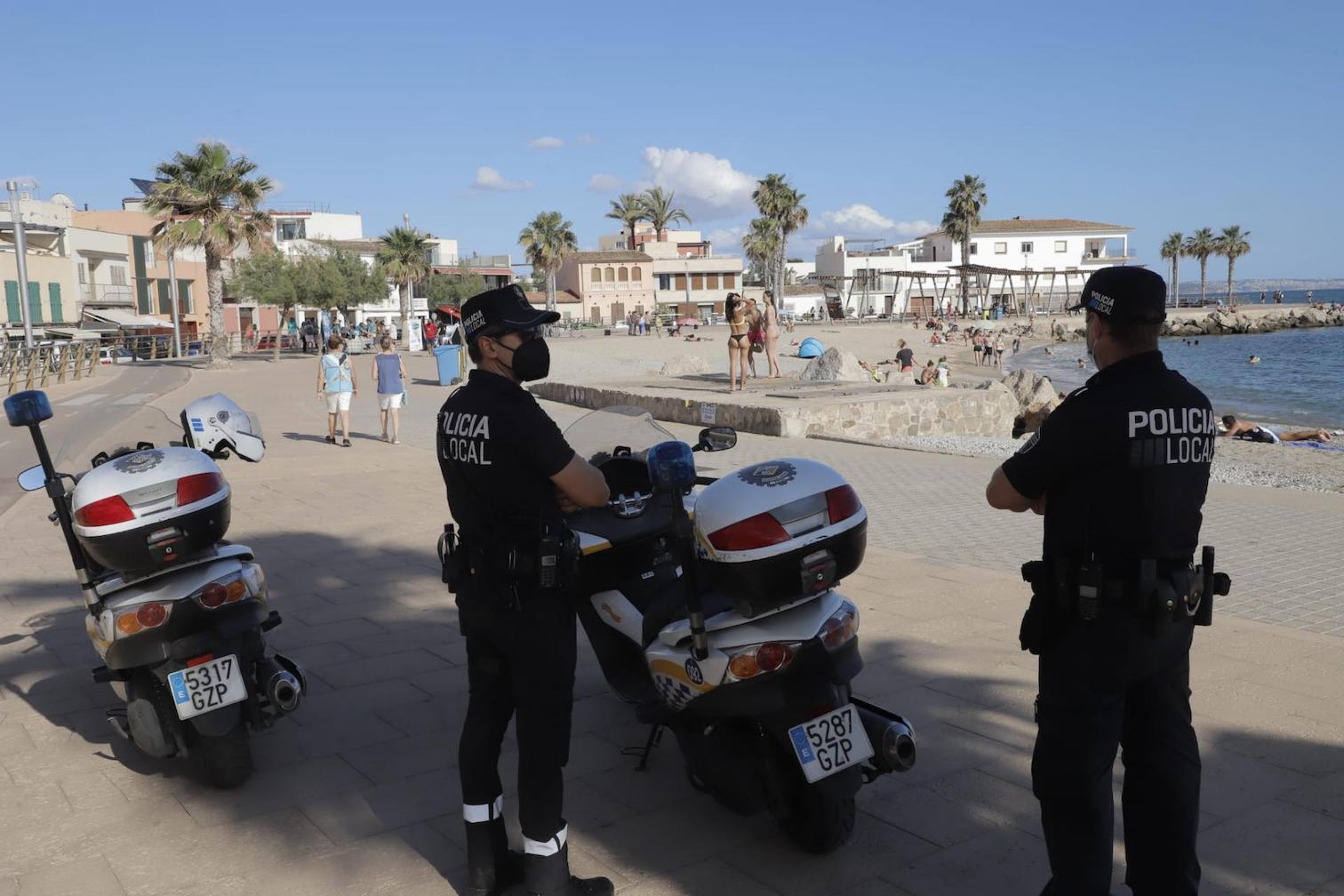 Police at Portixol beach, Palma.