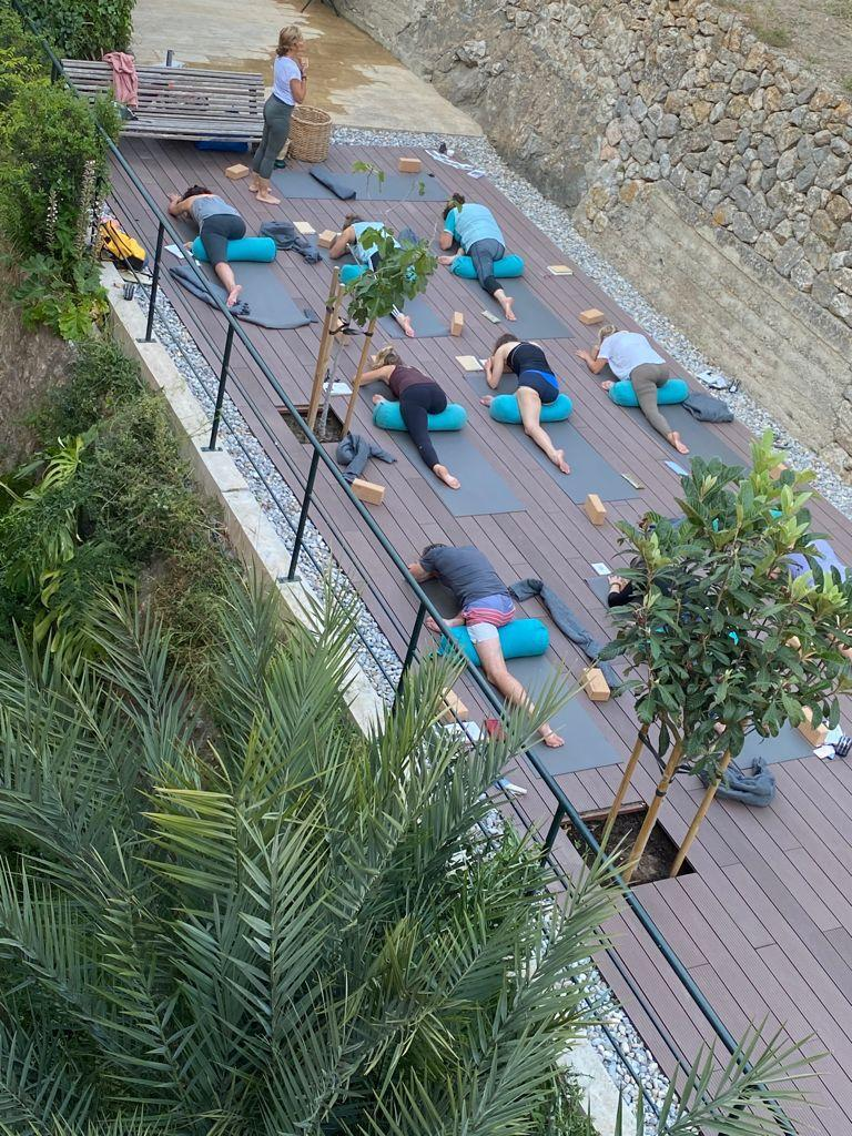 The yoga class area at the hotel Maristel