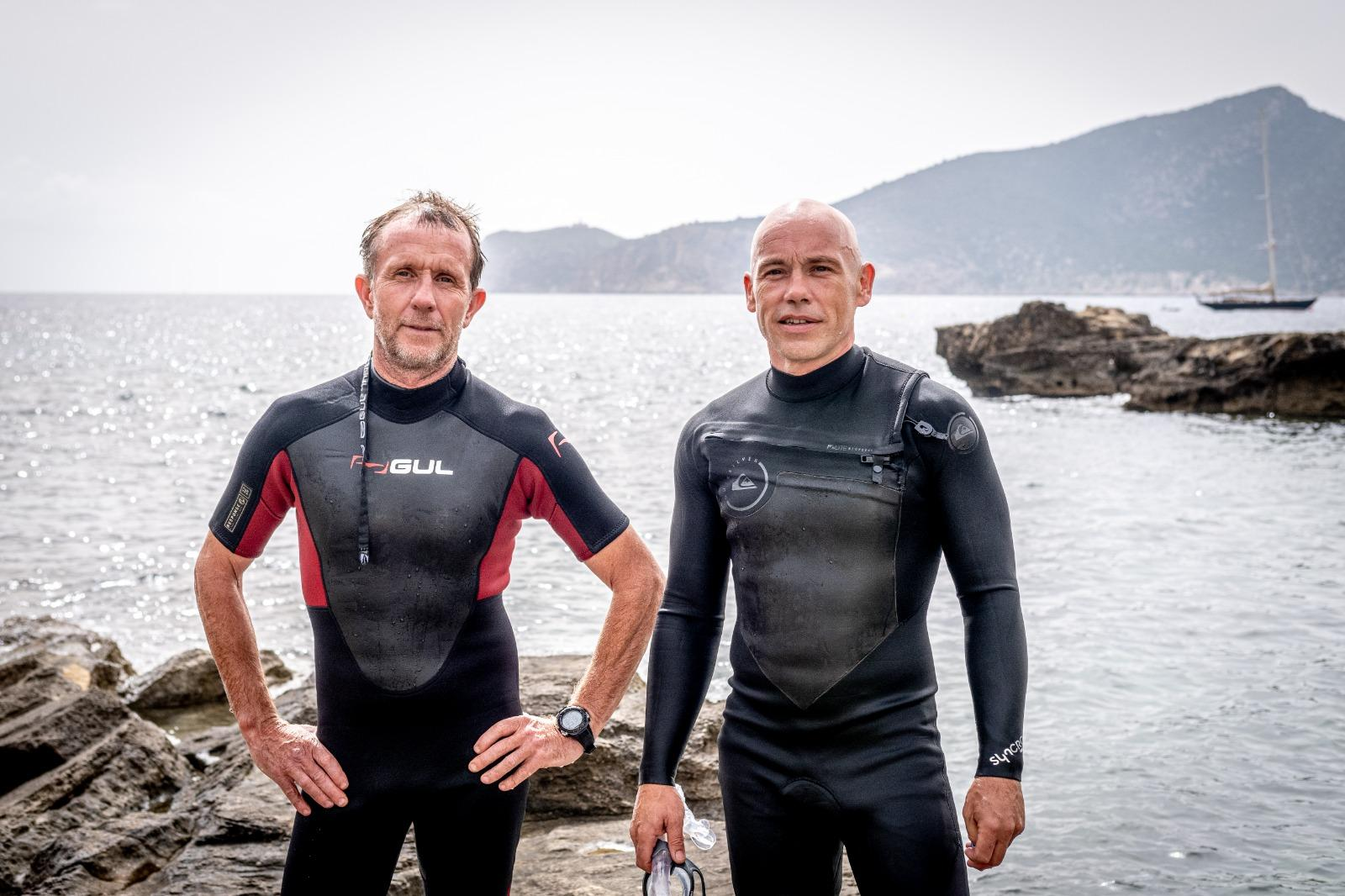 Tim (left) and Pete are snorkelling around the island