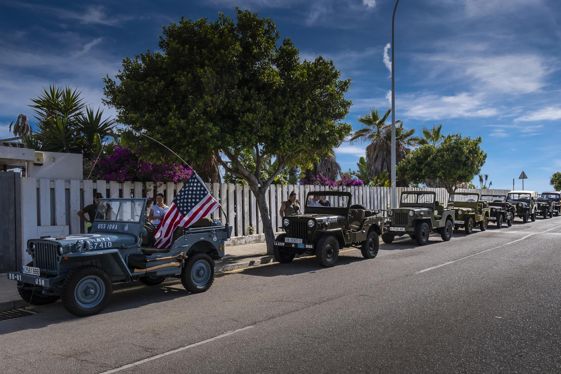 Big contingent of WW2 Jeeps celebrated the American Car Club's evening out.