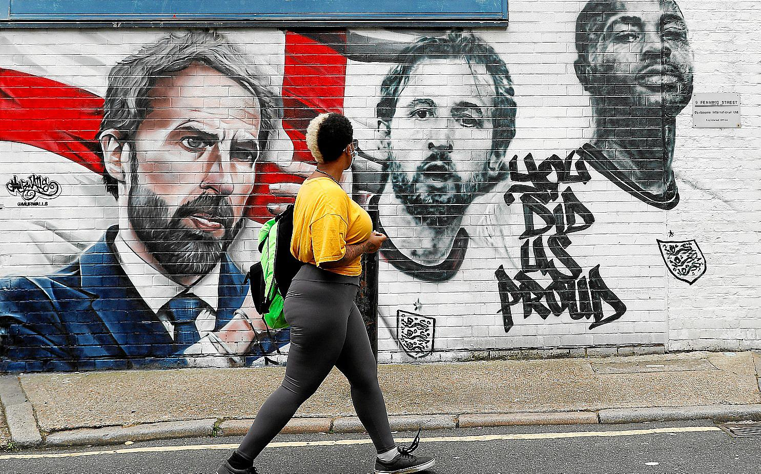 Mural pays tribute to English soccer team following the Euro 2020, in London