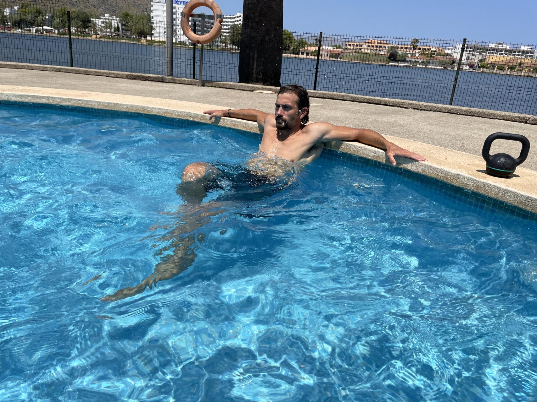 Water Cycling. If your calves feel overworked, hold on to the edge of the pool as above and cycle those legs.