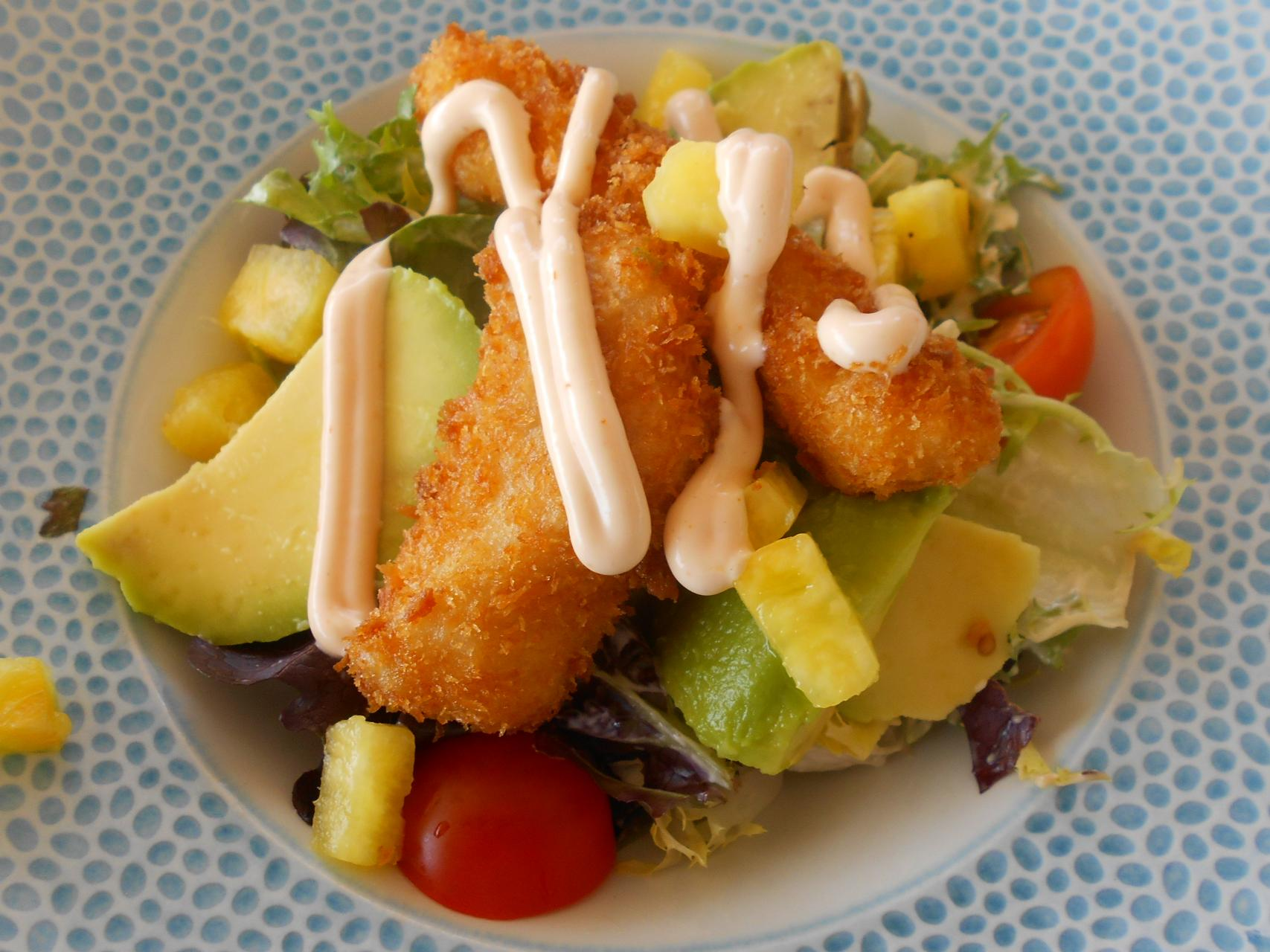 The crispy breadcrumbed chicken with avocado and pineapple.