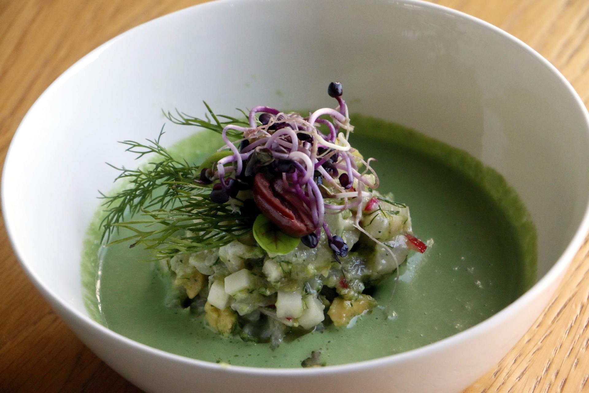 Gazpacho of avocado, lettuce, radish...