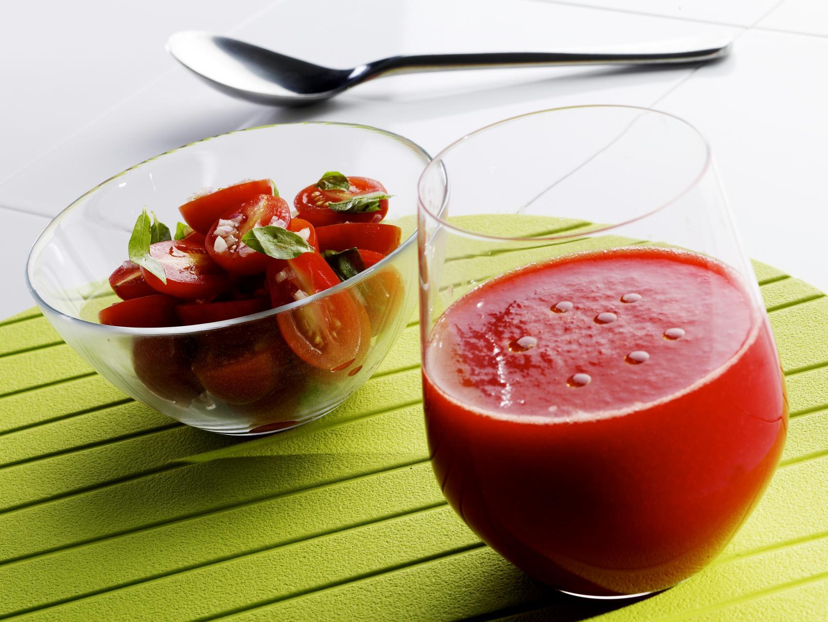 Watermelon Gazpacho with a simple cherry tomato salad