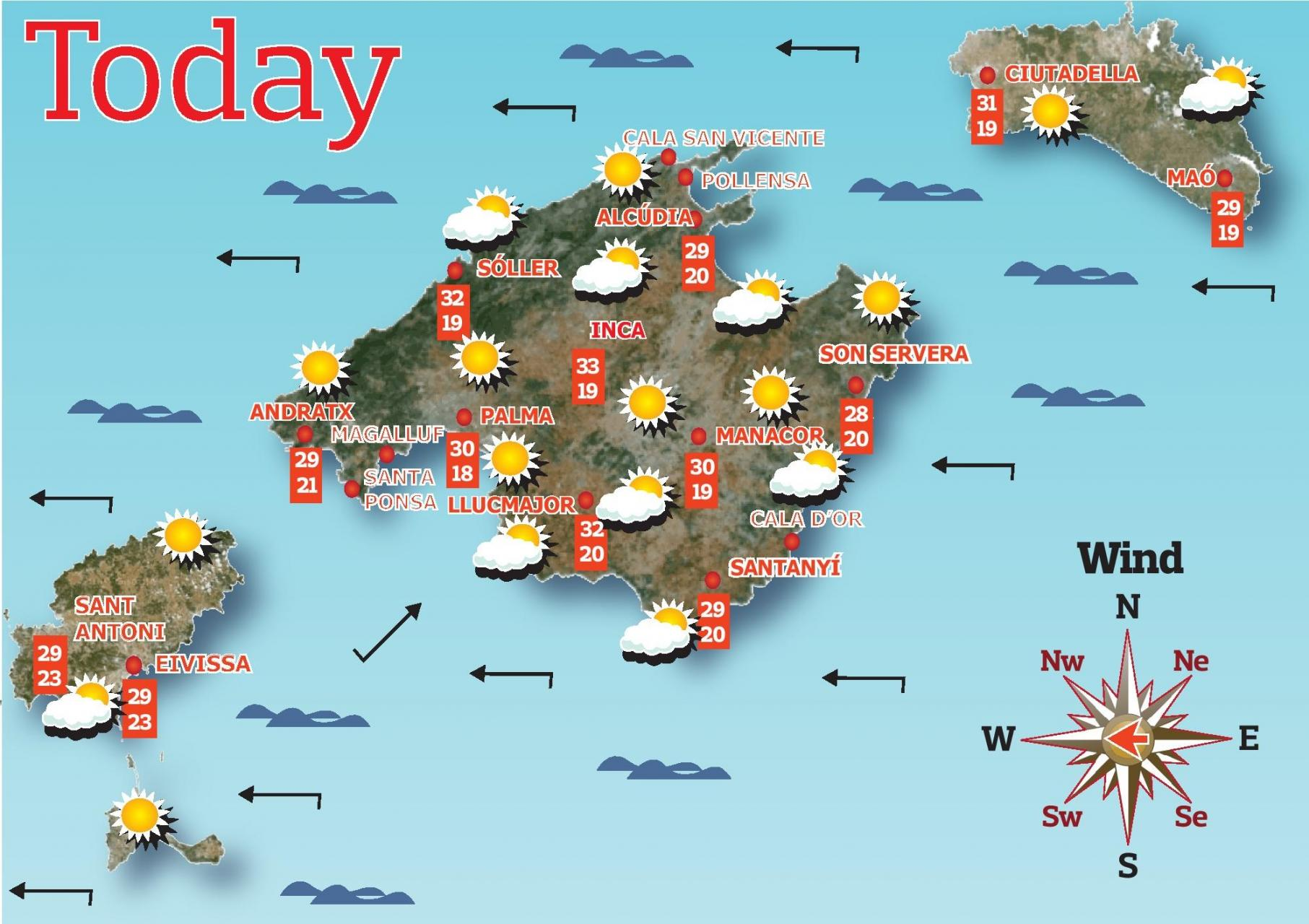 Mallorca Weather Forecast for Tuesday
