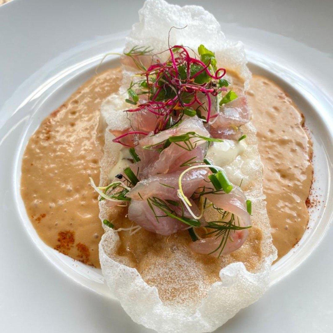 Llampuga marinated with caldereta cream