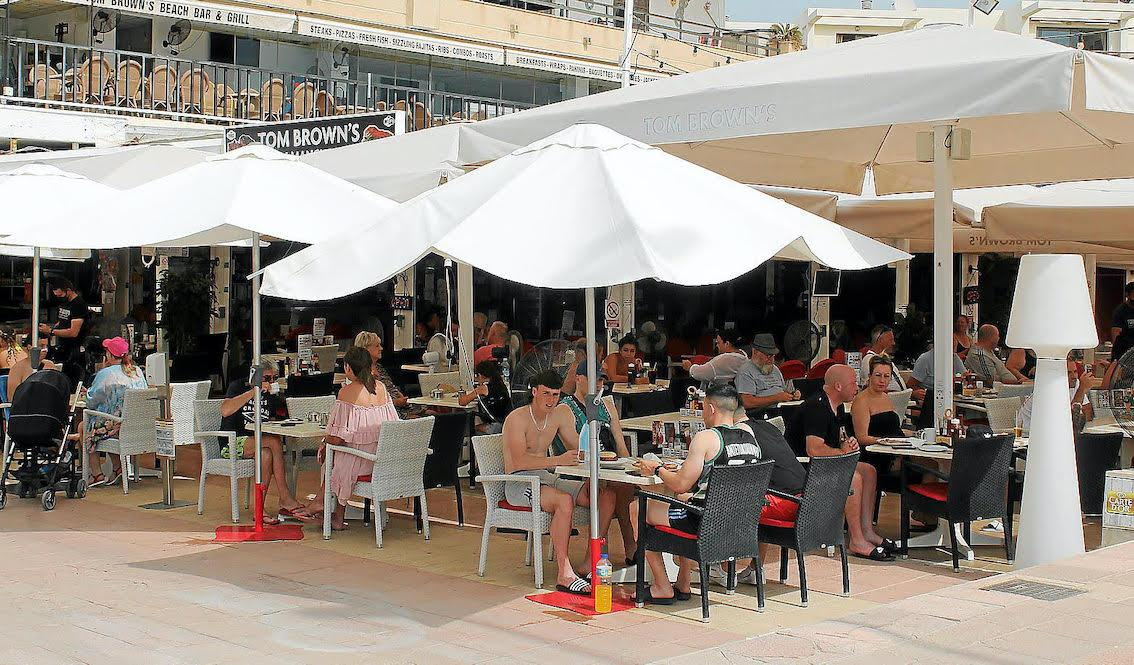 Tourists at a restaurant in Mallorca.