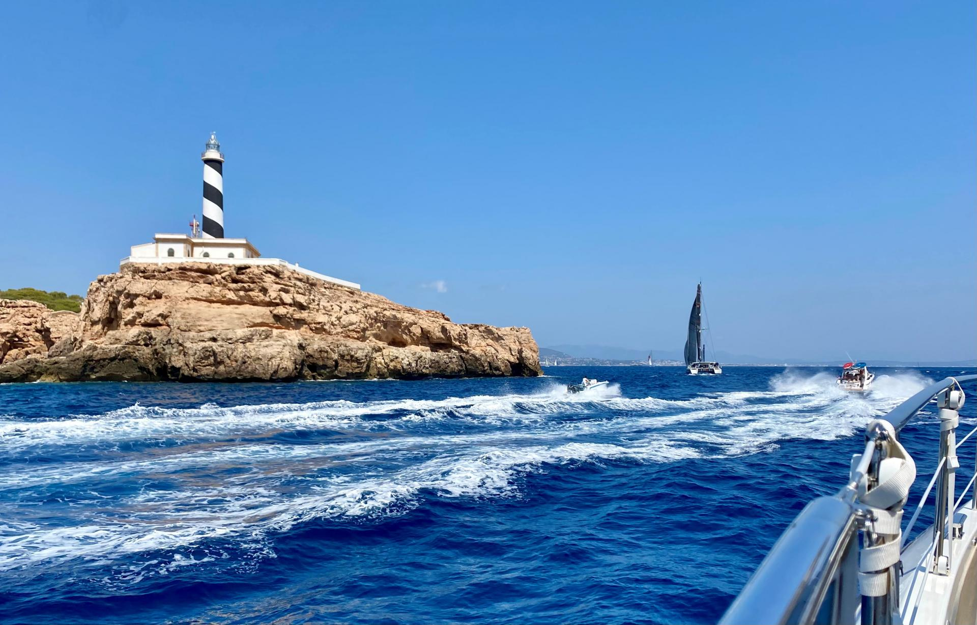 Passing the Cala Figuera lighthouse