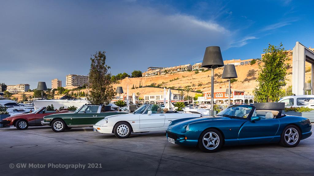 More traditional viewpoint, TVR, Alfa, Triumph Stag and Triumph TR7 lineup.
