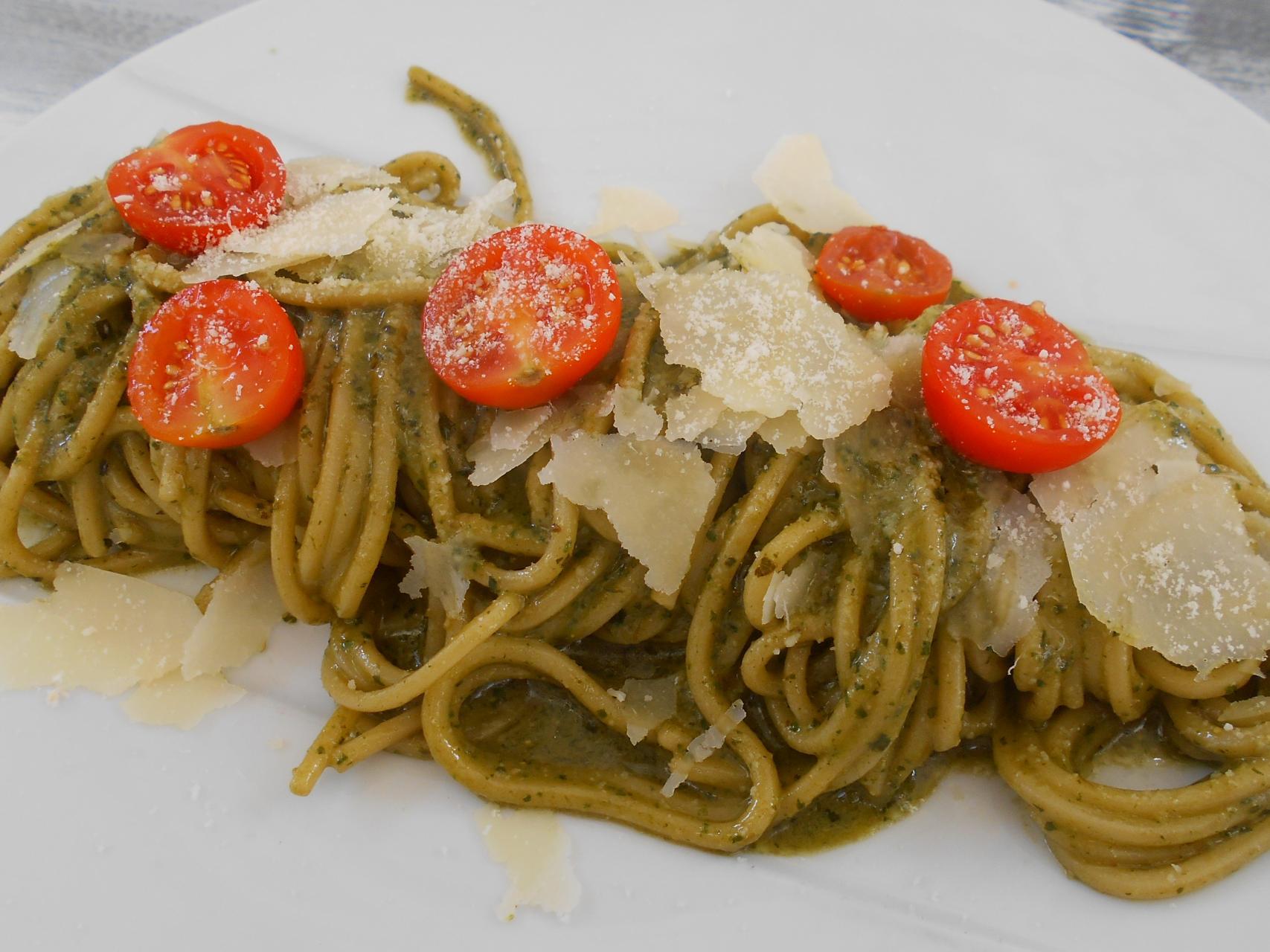 Manuel Caporale's spaghetti with pesto.