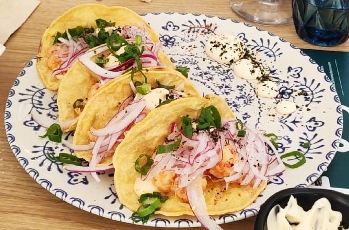 The local seafood tacos I was telling you about!