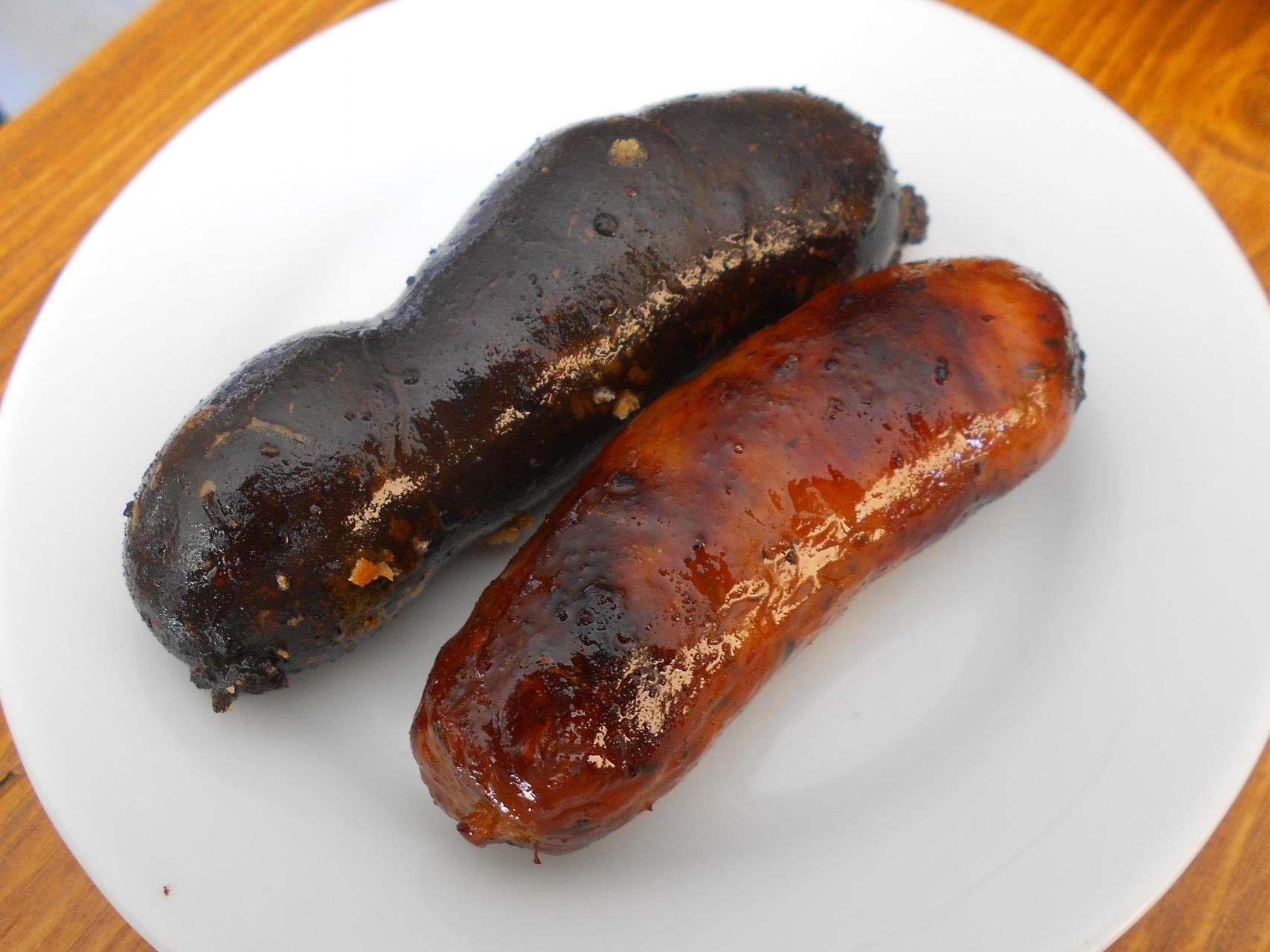 The black pudding and chorizo.