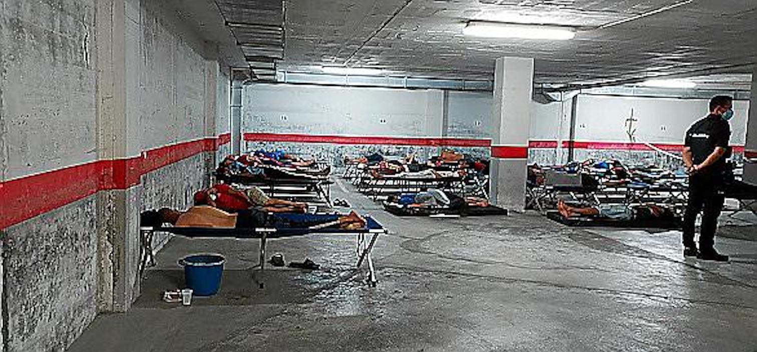 Migrants at National Police Station, Mallorca.