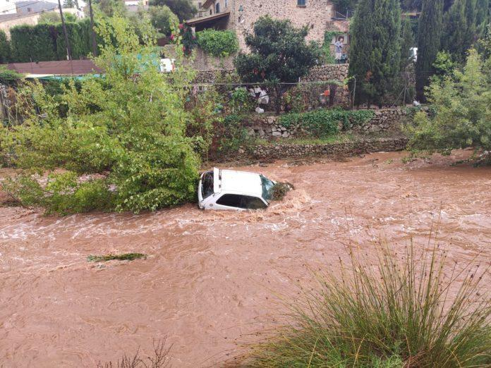 Car washed away by the flooding in Pollensa