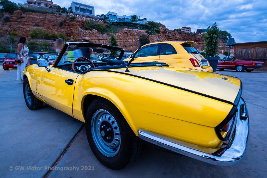 Bright yellow and immaculate Triumph Spitfire Mark 4.