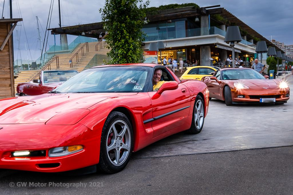 Late model Corvettes light up on the way home.