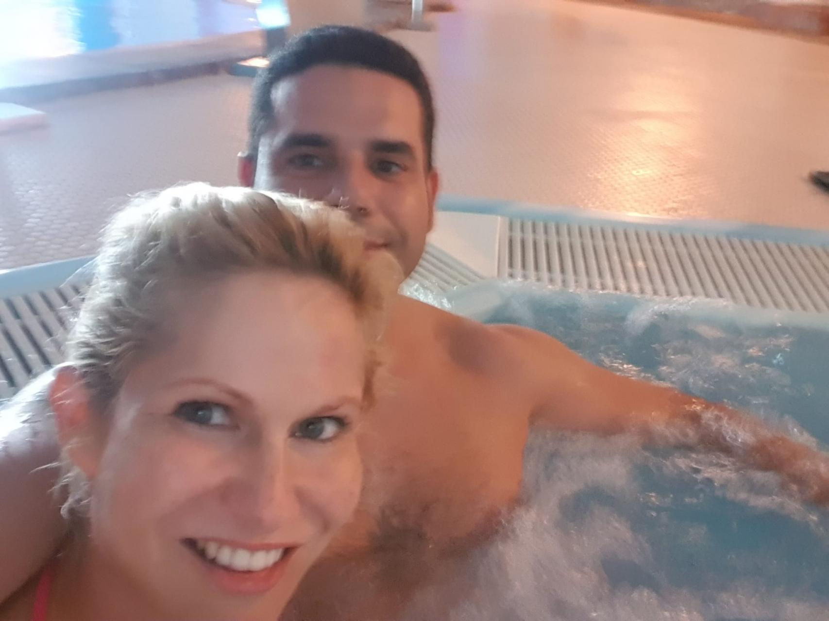 We definitely look stressed in the jacuzzi, don't we?