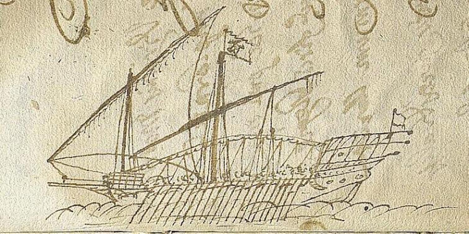Drawing from the 17th Century manuscript.