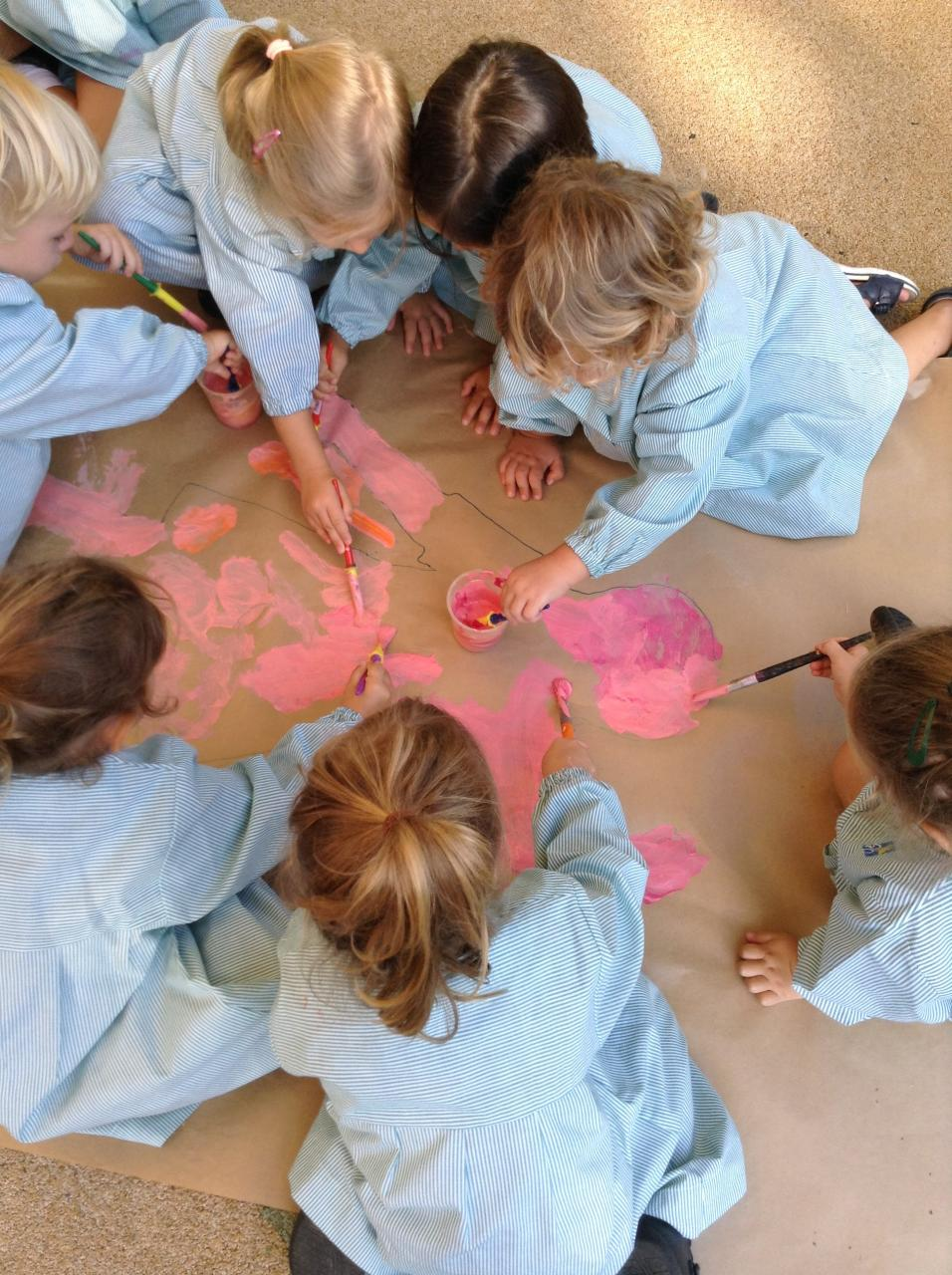 The children drew around a friend's body and painted and labelled the silhouette with the names of various body parts.