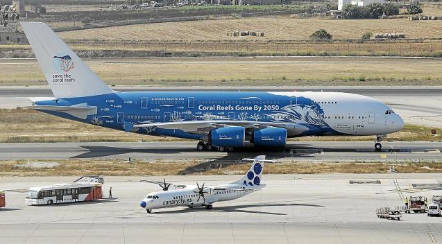 PALMA. TRANSPORTE AEREO. Aterriza el avión más grande. Un Airbus A380 llegó ayer al aeropuerto