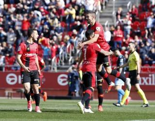 Celebrations for Mallorca during the win against Lugo.