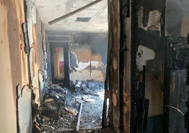 Interior of the apartment after the fire in Palma