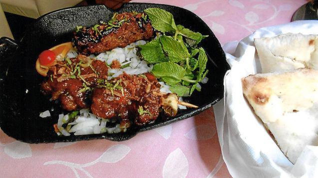 The lamb kebab, chicken wings and peshwari bread