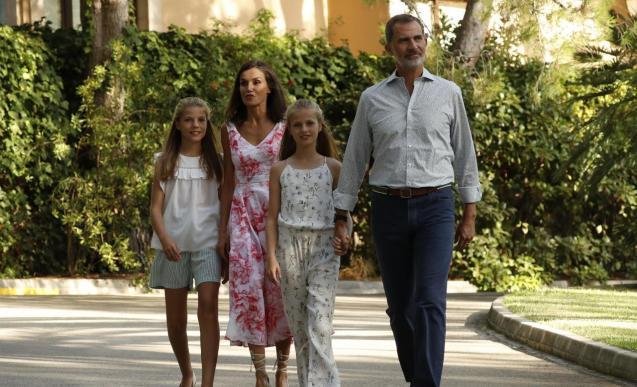 The Royal Family at the Marivent Palace on Sunday.