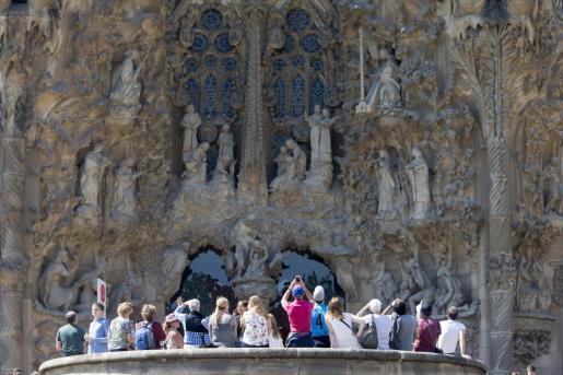 Tourists at the Sagrada Familia