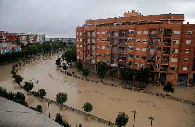 A view shows the overflowing Segura river as torrential rains hit Orihuela