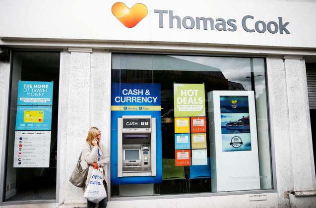 A closed Thomas Cook store in London