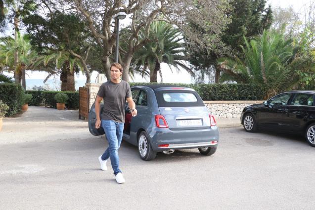 Rafael Nadal leaving the restaurant.