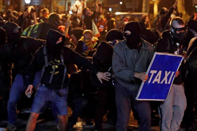 Rioters in Barcelona
