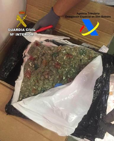 13.2 kilograms of marijuana wrapped in vacuum-packaged bags were discovered during the raid.